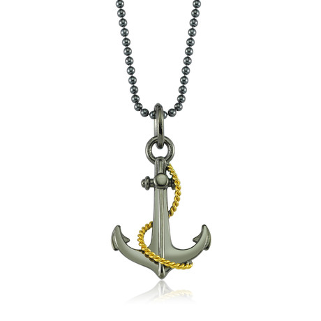 "Anchor + Rope Design Necklace // Black + Gold (22"")"