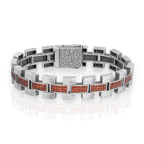 "Garnet Stone Bracelet // Silver (7"")"