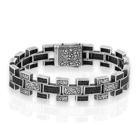 "Teak Stone Bracelet // Silver (7"")"