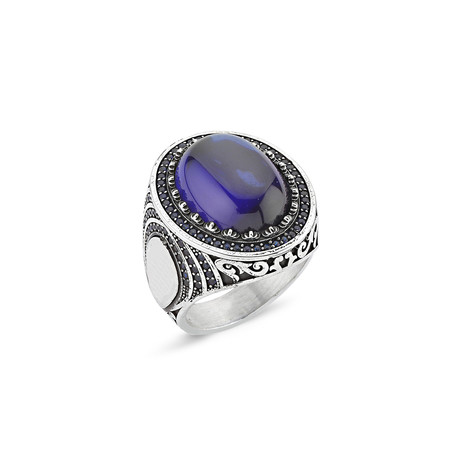 Stone Ring // Silver + Blue (8)