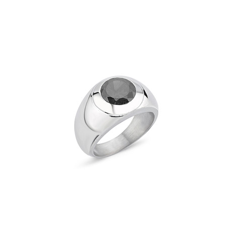 Onyx Stone Ring // Silver (8)