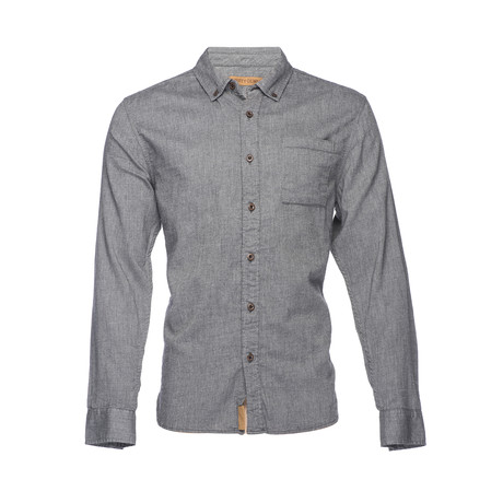 Truman Button Collar Solid Shirt // Charcoal (XS)