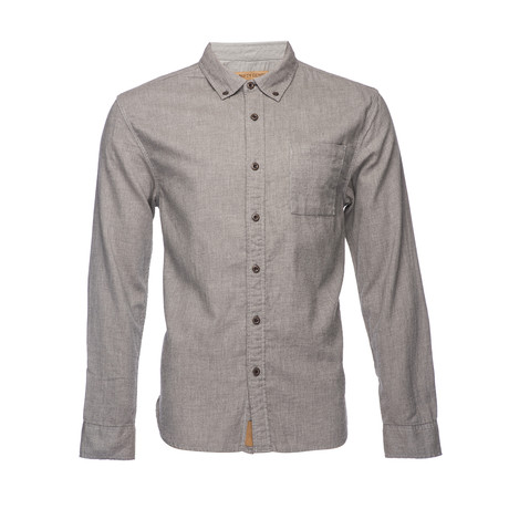 Truman Button Collar Solid Shirt // Brown (XS)