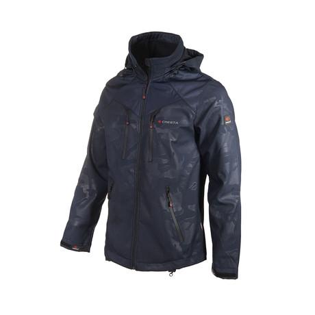 Printed Hooded Weather Proof Jacket // Dark Blue (S)