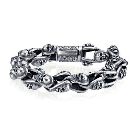 """Skull Bracelet // Silver (7"""")"""