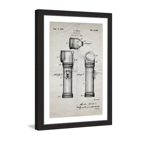 "Flashlight 1923 // Old Paper Framed Painting Print (8""W x 12""H x 1.5""D)"