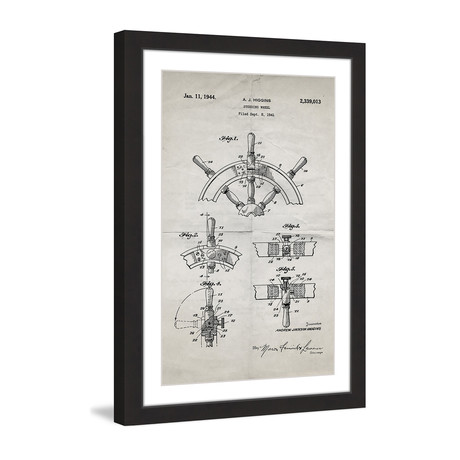 "Boat Steering Wheel 1941 // Old Paper Framed Painting Print (8""W x 12""H x 1.5""D)"