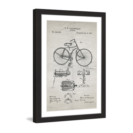 "Bicycle 1891 // Old Paper Framed Painting Print (8""W x 12""H x 1.5""D)"