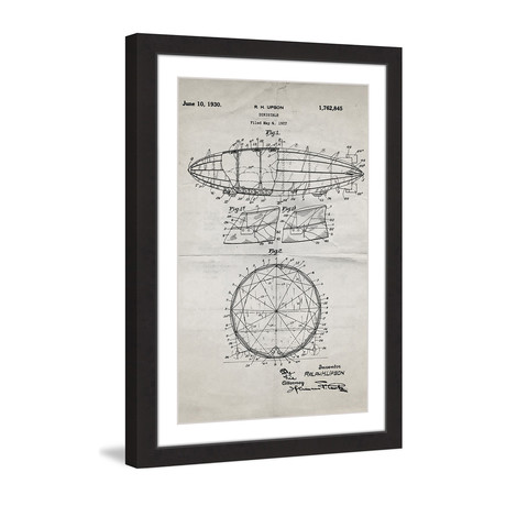 "Dirigible 1922 // Old Paper Framed Painting Print (8""W x 12""H x 1.5""D)"