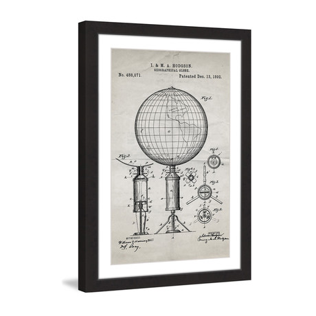 "Globe 1892 // Old Paper Framed Painting Print (8""W x 12""H x 1.5""D)"