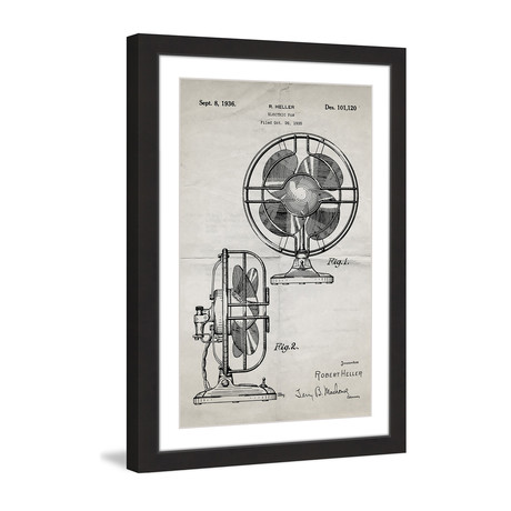"Electric Fan 1935 // Old Paper Framed Painting Print (8""W x 12""H x 1.5""D)"