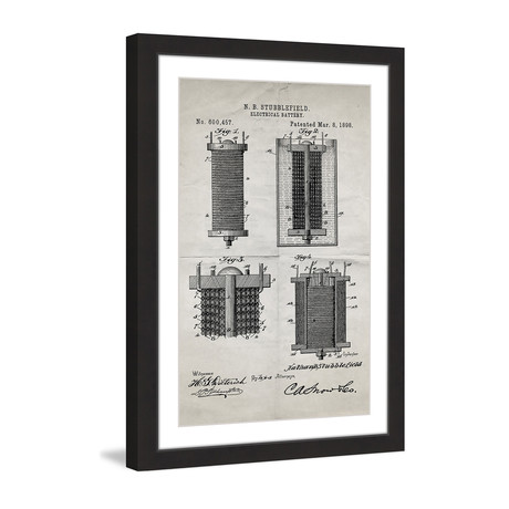 "Battery 1898 // Old Paper Framed Painting Print (8""W x 12""H x 1.5""D)"