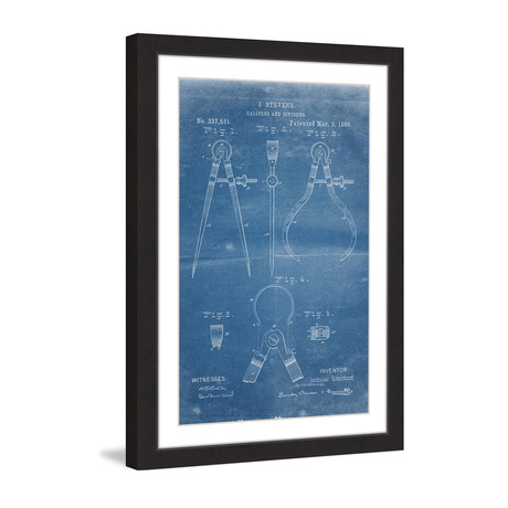 "Calipers 1886 // Blueprint Framed Painting Print (8""W x 12""H x 1.5""D)"