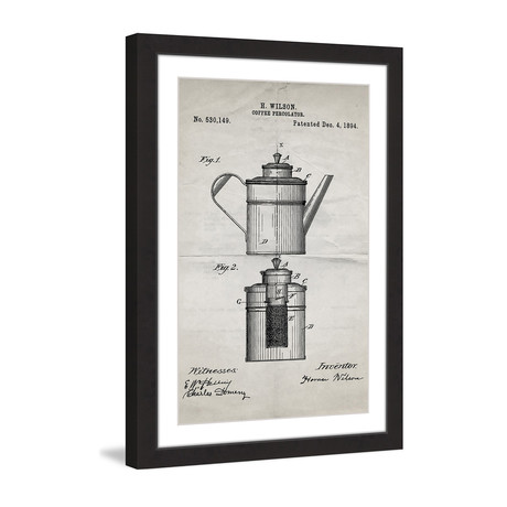 "Percolator 1894 // Old Paper Framed Painting Print (8""W x 12""H x 1.5""D)"