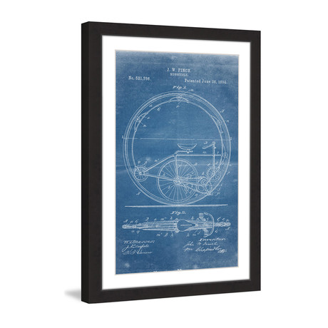 "Monocycle 1894 // Blueprint Framed Painting Print (8""W x 12""H x 1.5""D)"