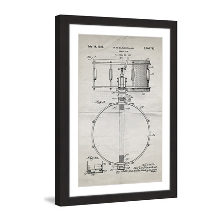 "Snare Drum 1939 // Old Paper Framed Painting Print (8""W x 12""H x 1.5""D)"