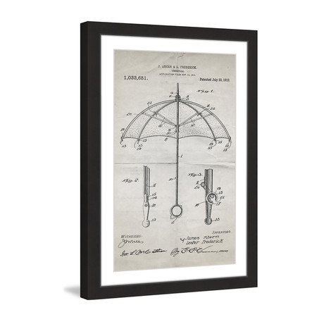 "Umbrella 1912 // Old Paper Framed Painting Print (8""W x 12""H x 1.5""D)"