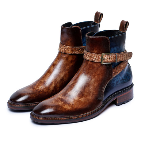Cross Strap Boots // Brown + Blue (US: 8)