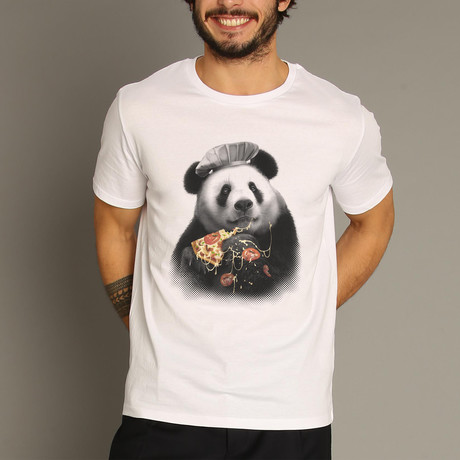 Panda Pizza T-Shirt // White (S)