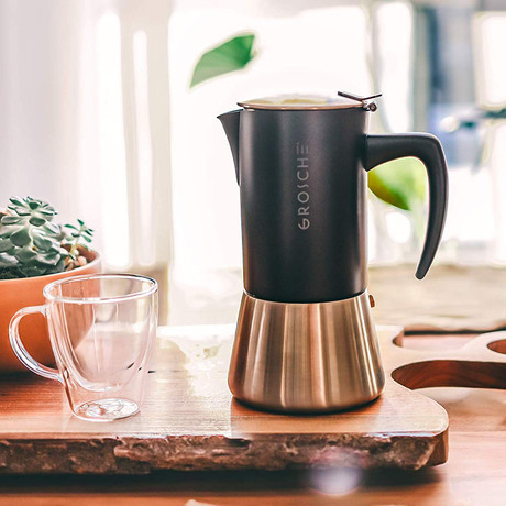Milano Steel Stovetop Espresso Maker // Black (6 Cup)