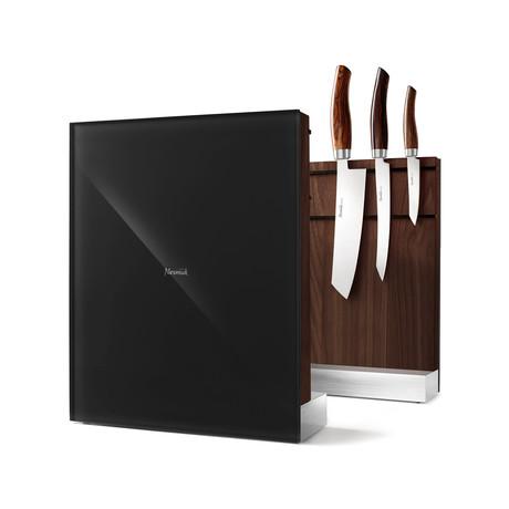 Nesmuk Knife Holder // American Walnut Wood + Black Glass