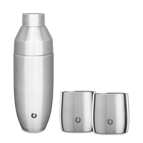 Insulated Stainless Steel Rocks Glasses + Cocktail Shaker // Set of 2 Glasses + Shaker (Gold)