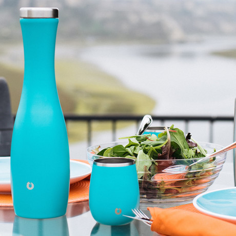 Insulated Stainless Steel Wine Glasses + Wine Carafe // Set of 2 Glasses + Carafe (Teal)