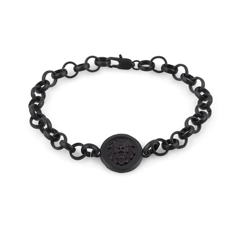 Lion Chain Link Bracelet // Black