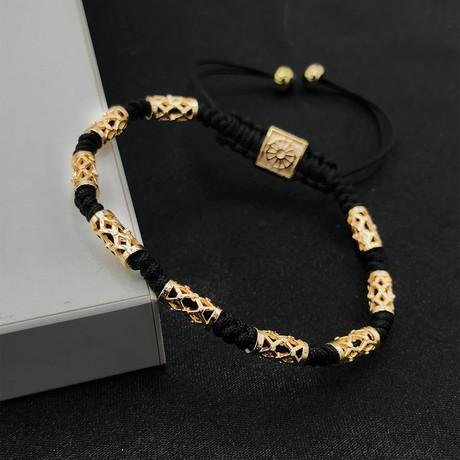 Adjustable Beaded Bracelet // Gold