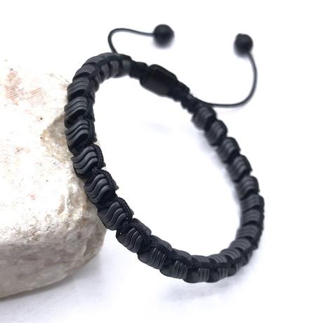 Abstract Adjustable Beaded Bracelet // Black