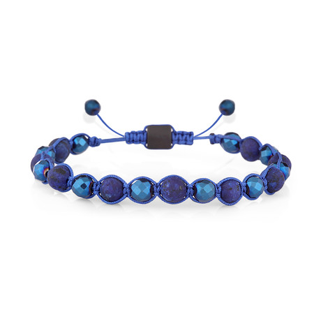 Adjustable Beaded Bracelet // Blue