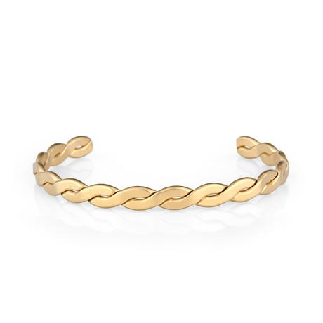Flat Twisted Cuff Bracelet // Gold