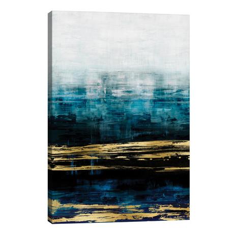 "Aqua Reflections With Gold // Allie Corbin (26""W x 40""H x 1.5""D)"