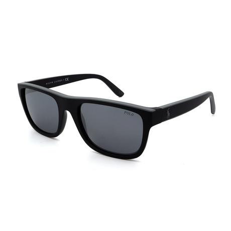 Polo // Men's PH4145-55236G Sunglasses // Black + Silver Mirror
