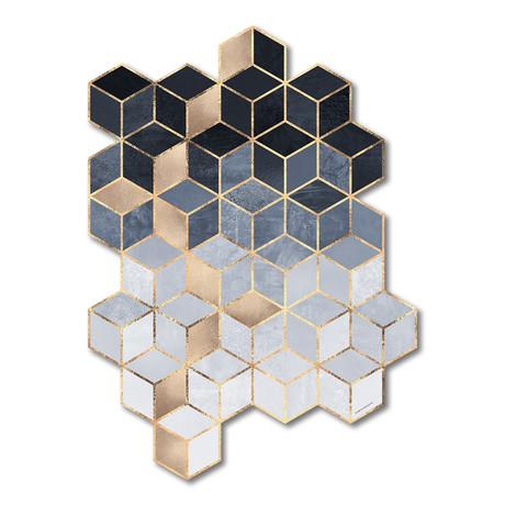 """Soft Blue Gradient Cubes (12""""W x 16""""H x 0.45""""D)"""
