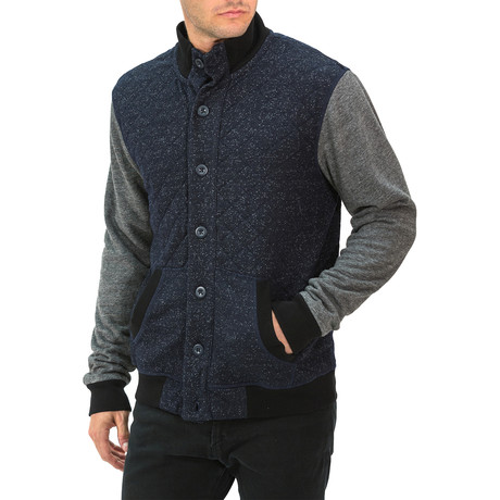 Quilted Vest Shirt Jacket // Navy (S)