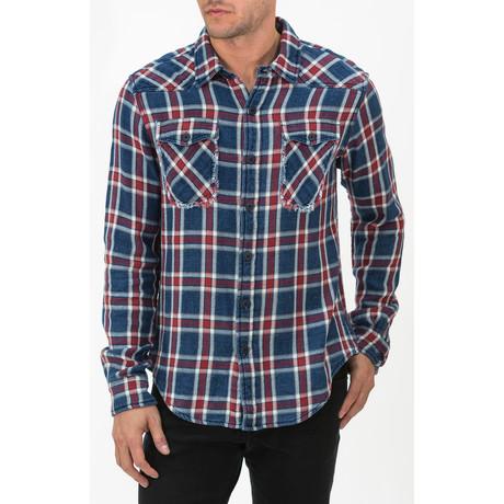 Long Sleeve Plaid Button-Down Shirt // Blue + Red (S)