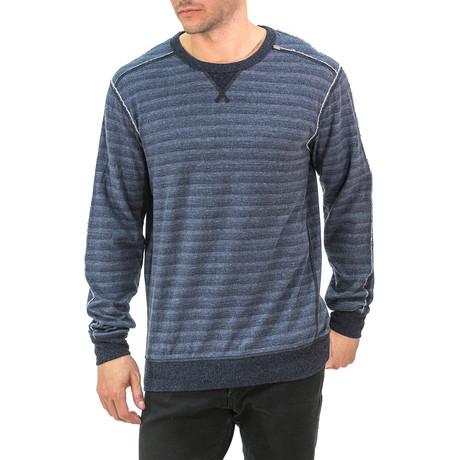 Heathered Striped Crewneck Sweatshirt // Blue (S)