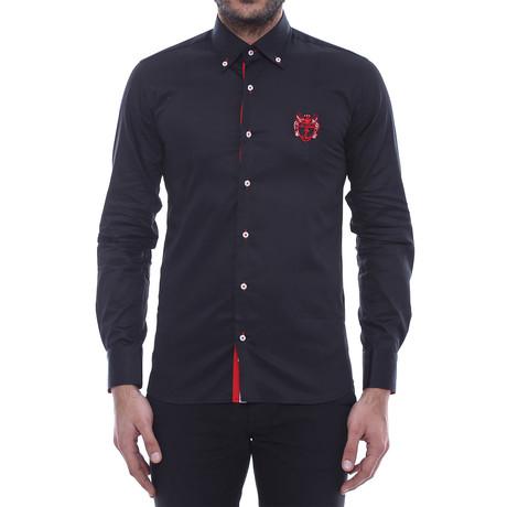 Crested Slim-Fit Shirt // Black (S)