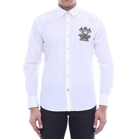 Crested Slim-Fit Shirt // White (S)
