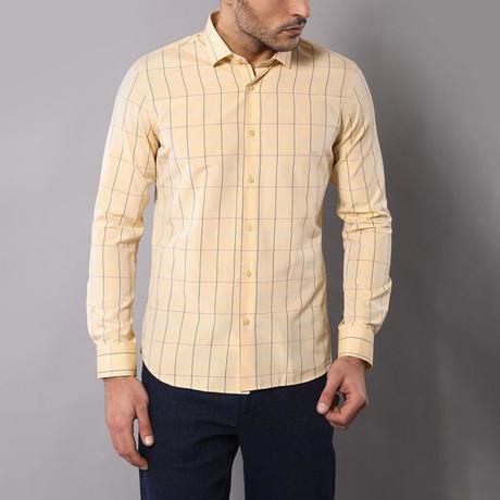 Window Pane Print Slim-Fit Shirt // Yellow (S)