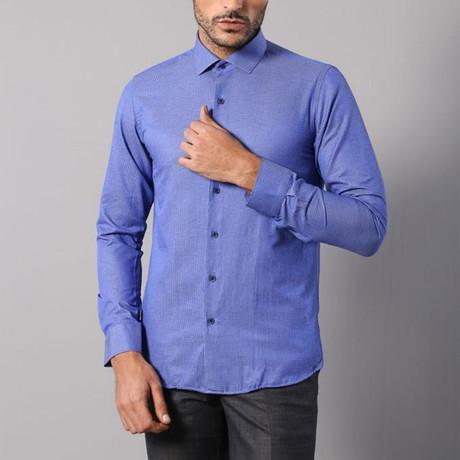 Mini Square Print Slim-Fit Shirt // Blue (S)