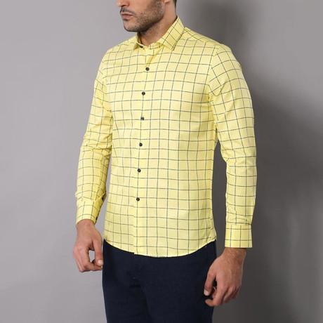 Plaid Slim-Fit Shirt // Yellow (S)