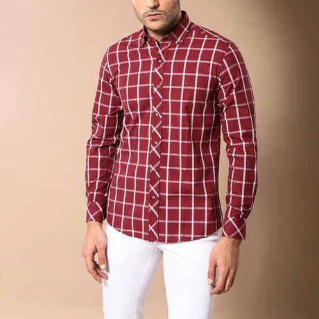 Printed Slim-Fit Shirt // Burgundry (S)