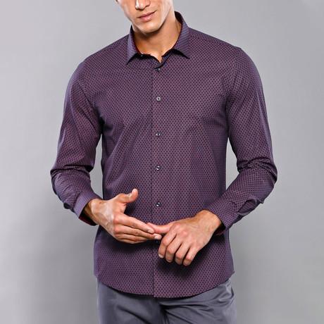 Printed Slim-Fit Shirt // Purple (S)