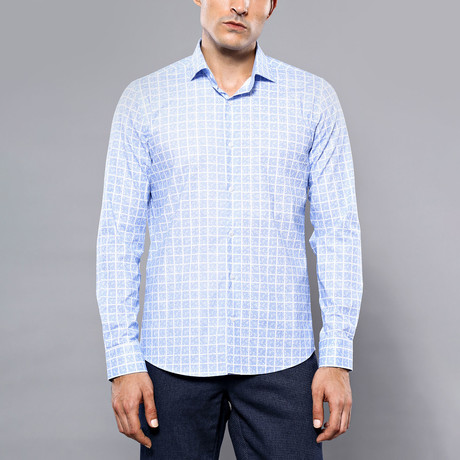 Square Print Slim-Fit Shirt // Sky Blue (S)