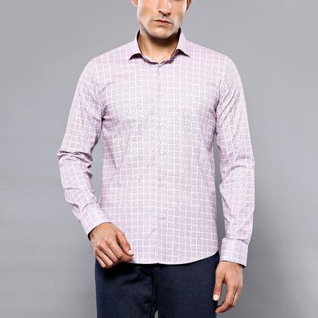 Square Print Slim-Fit Shirt // Powder (S)