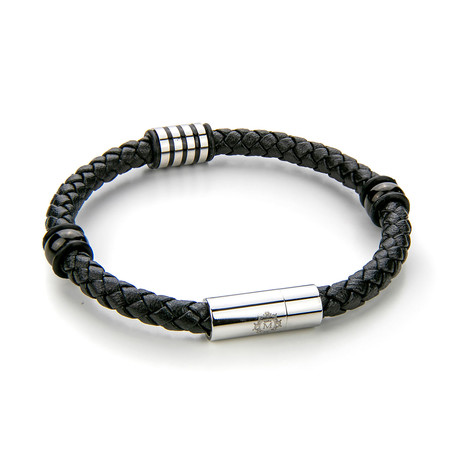 Braided Leather Bracelet V2 (Black + Silver)