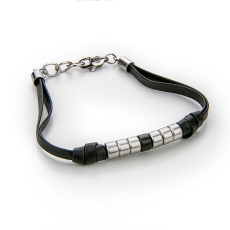 Leather + Beaded Bracelet (Black + Silver)