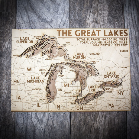 "The Great Lakes (7""W x 10""H x 1.5""D)"